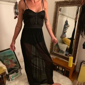 Sexy Sheer black maxi dress